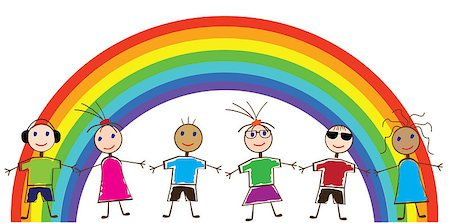 Vector illustration of funny children and a rainbow Stock Photo - Budget Royalty-Free & Subscription, Code: 400-04411863