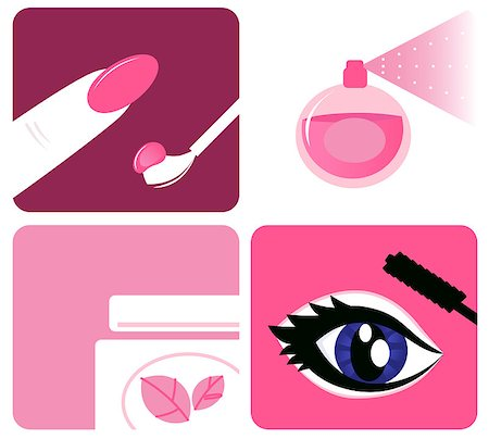 face woman beautiful clipart - Icon set of makeup and beauty icons. Vector Illustration. Stock Photo - Budget Royalty-Free & Subscription, Code: 400-04412849