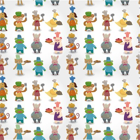 cartoon animal chef seamless pattern Stock Photo - Budget Royalty-Free & Subscription, Code: 400-04413548