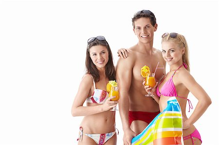 Attractive young men with a cocktail on a white background Stock Photo - Budget Royalty-Free & Subscription, Code: 400-04413804