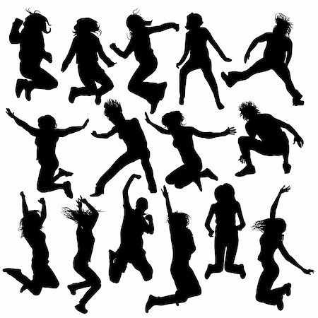 simsearch:400-04222950,k - vector jumping and flying people silhouettes 2 Stock Photo - Budget Royalty-Free & Subscription, Code: 400-04424026