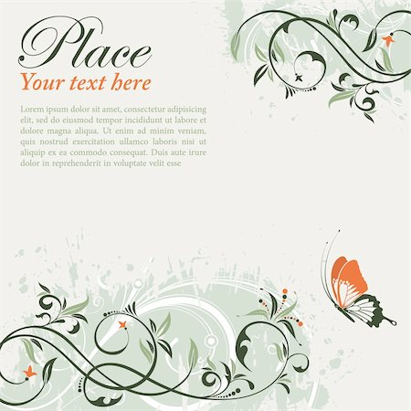 filigree designs in trees and insects - Flower Frame with Butterfly, element for design, vector illustration Stock Photo - Budget Royalty-Free & Subscription, Code: 400-04424200