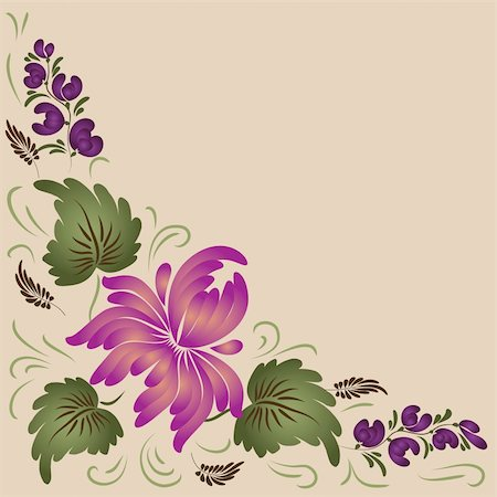 plant leaf paintings graphic - Flowers on a beige background - in the style of hand-painted.  Basic elements are grouped. File contains gradients. Stock Photo - Budget Royalty-Free & Subscription, Code: 400-04424587