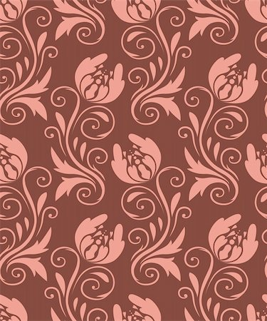 seamless pattern - beige flowers on a brown background Stock Photo - Budget Royalty-Free & Subscription, Code: 400-04424589
