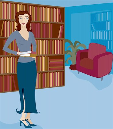 Woman holding books and browsing or working in a library or bookstore Stock Photo - Budget Royalty-Free & Subscription, Code: 400-04425615
