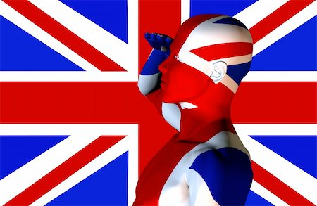 A man with the Union Jack flag on his body its the flag of Great Britain. Stock Photo - Budget Royalty-Free & Subscription, Code: 400-04426482