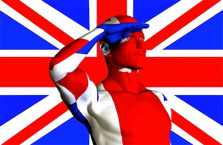 A man with the Union Jack flag on his body its the flag of Great Britain Stock Photo - Budget Royalty-Free & Subscription, Code: 400-04426483