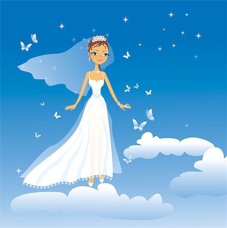 The beautiful happy bride flies on clouds Stock Photo - Budget Royalty-Free & Subscription, Code: 400-04427027