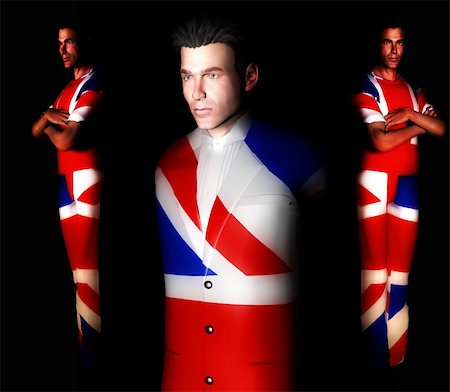 A set of men with the Union Jack flag on their clothing, its the flag of Great Britain. Stock Photo - Budget Royalty-Free & Subscription, Code: 400-04428042
