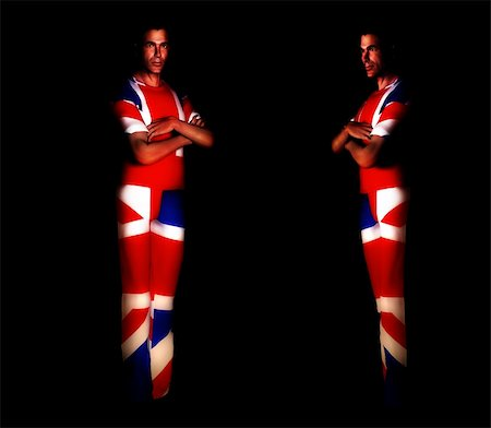 A pair of men with the Union Jack flag on their clothing, its the flag of Great Britain. Stock Photo - Budget Royalty-Free & Subscription, Code: 400-04428043