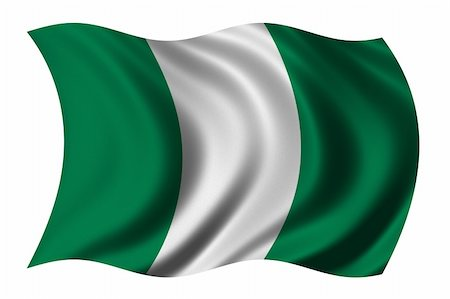 Flag of Nigeria waving in the wind - clipping path included Stock Photo - Budget Royalty-Free & Subscription, Code: 400-04429797