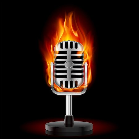 Old Microphone in Fire. Illustration on black background Stock Photo - Budget Royalty-Free & Subscription, Code: 400-04420130
