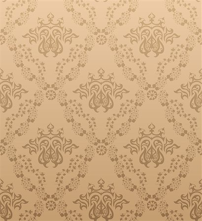 Damask seamless vector pattern.  For easy making seamless pattern just drag all group into swatches bar, and use it for filling any contours. Stock Photo - Budget Royalty-Free & Subscription, Code: 400-04420279
