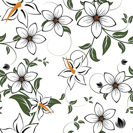 drawn curved - Seamless vector floral pattern. For easy making seamless pattern just drag all group into swatches bar, and use it for filling any contours. Stock Photo - Budget Royalty-Free & Subscription, Code: 400-04420288
