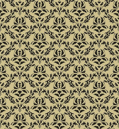 Damask seamless vector pattern.  For easy making seamless pattern just drag all group into swatches bar, and use it for filling any contours. Stock Photo - Budget Royalty-Free & Subscription, Code: 400-04420281
