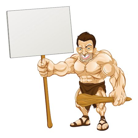 A cartoon illustration of a muscular caveman holding a sign Stock Photo - Budget Royalty-Free & Subscription, Code: 400-04421089