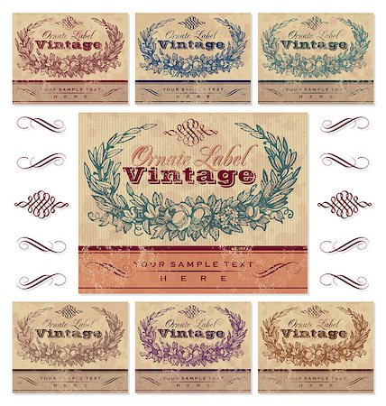set of 7 color variations of a vintage label set; scalable and editable vector illustration - grunge effect in separate layer; Stock Photo - Budget Royalty-Free & Subscription, Code: 400-04421503