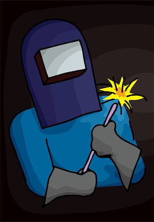 spark vector - Person in welder's outfit with blowtorch and heavy gloves Stock Photo - Budget Royalty-Free & Subscription, Code: 400-04421758