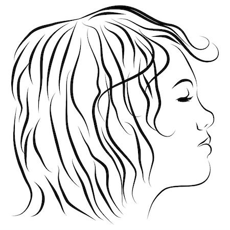 An image of a womans head profile line drawing. Stock Photo - Budget Royalty-Free & Subscription, Code: 400-04422244