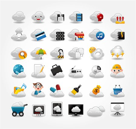 Vector Icons for Cloud network Stock Photo - Budget Royalty-Free & Subscription, Code: 400-04422538