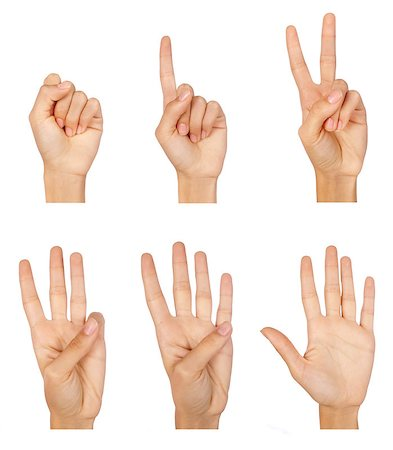 Set of counting hands sign isolated on white Stock Photo - Budget Royalty-Free & Subscription, Code: 400-04422665