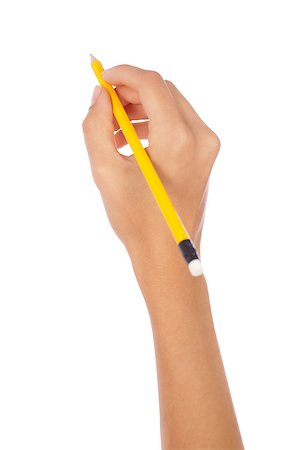 hand holding a pencil on isolated background Stock Photo - Budget Royalty-Free & Subscription, Code: 400-04422677