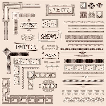 filigree - Decorative menu and invitation border elements Also available as a Vector in Adobe illustrator EPS format, compressed in a zip file Stock Photo - Budget Royalty-Free & Subscription, Code: 400-04422823