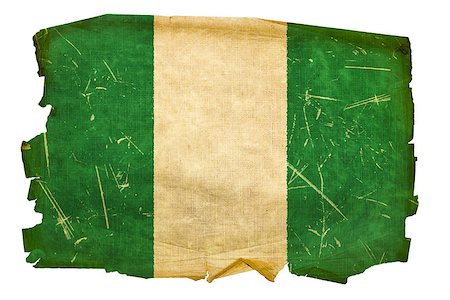 Nigeria Flag old, isolated on white background. Stock Photo - Budget Royalty-Free & Subscription, Code: 400-04422850