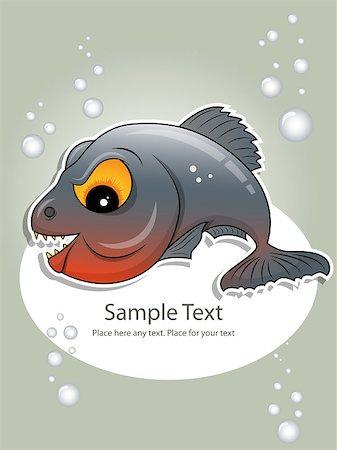 piranha fish - Vector picture of gray piranha Stock Photo - Budget Royalty-Free & Subscription, Code: 400-04422897