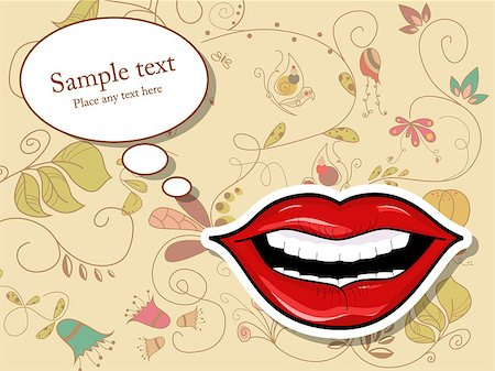 Vector picture with lips and speech bubbles Stock Photo - Budget Royalty-Free & Subscription, Code: 400-04422904
