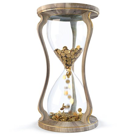 sand clock - Gold coins in wooden hourglass crumble down. isolated on white. Stock Photo - Budget Royalty-Free & Subscription, Code: 400-04423065