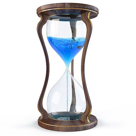 sand clock - wooden hourglass with a blue liquid flowing down. isolated on white. Stock Photo - Budget Royalty-Free & Subscription, Code: 400-04423066