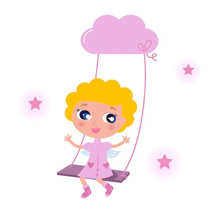 pretty pink star white background - Blond cute angel swinging on sky with stars. Vector cartoon illustration. Stock Photo - Budget Royalty-Free & Subscription, Code: 400-04423572