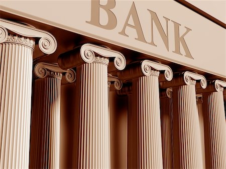 Illustration of a traditional bank with classic columns Stock Photo - Budget Royalty-Free & Subscription, Code: 400-04423868