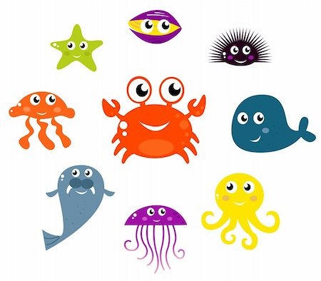 Underwater creatures and animals set. Vector cartoon Illustration. Stock Photo - Budget Royalty-Free & Subscription, Code: 400-04423986