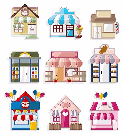 cartoon house / shop icons collection Stock Photo - Budget Royalty-Free & Subscription, Code: 400-04423989