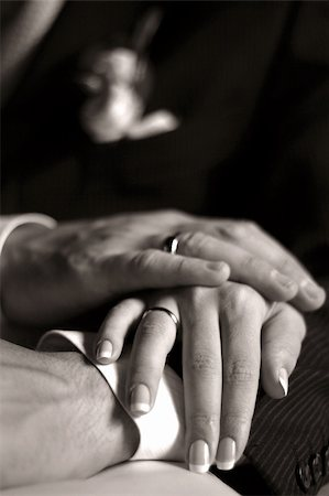 The groom keep the bride for hands. b/w+sepia Stock Photo - Budget Royalty-Free & Subscription, Code: 400-04430880