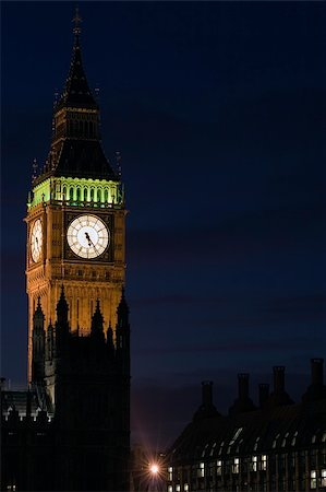 The Houses of Parliament and Big Ben in London at night. Stock Photo - Budget Royalty-Free & Subscription, Code: 400-04433436
