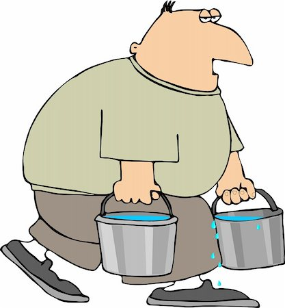 This illustration depicts a man carrying two buckets of water. Stock Photo - Budget Royalty-Free & Subscription, Code: 400-04433731