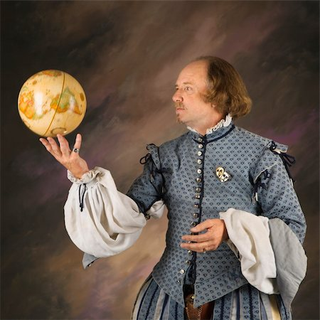 William Shakespeare in period clothing holding spinning globe. Stock Photo - Budget Royalty-Free & Subscription, Code: 400-04445190