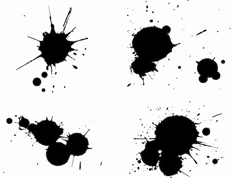spilling blood texture - 4 Black Splats -  Background is transparent so they can be overlayed on other Issustrations or Images. Stock Photo - Budget Royalty-Free & Subscription, Code: 400-04446655