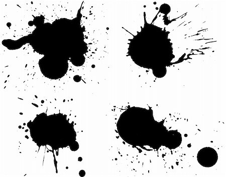 spilling blood texture - 4 Black Splats - Background is transparent so they can be overlayed on other Illustrations or Images. Stock Photo - Budget Royalty-Free & Subscription, Code: 400-04447483