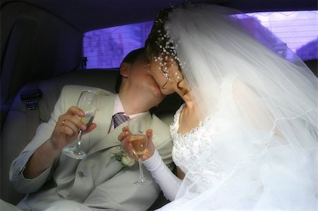 Newly-married couple kiss Stock Photo - Budget Royalty-Free & Subscription, Code: 400-04447572
