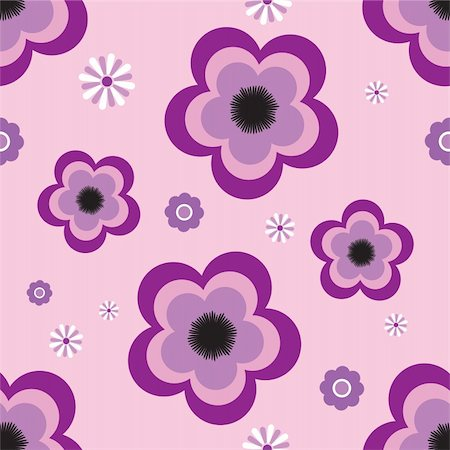 Abstract flower design using an illustrated pansy on a purple background Stock Photo - Budget Royalty-Free & Subscription, Code: 400-04443505