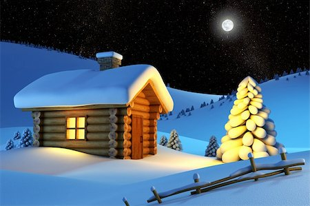 christmas house and fir-tree in snow-drift mountain landscape Stock Photo - Budget Royalty-Free & Subscription, Code: 400-04443549