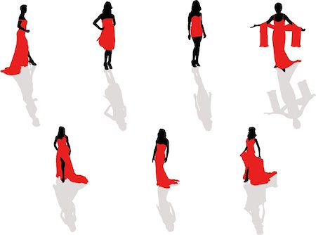 simsearch:400-04096935,k - lady in the red dress silhouettes Stock Photo - Budget Royalty-Free & Subscription, Code: 400-04455330