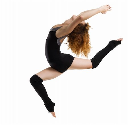 feet gymnast - a modern dancer with black dress jumping Stock Photo - Budget Royalty-Free & Subscription, Code: 400-04458032