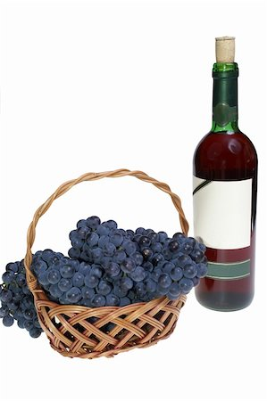 Grape in basket and wine Stock Photo - Budget Royalty-Free & Subscription, Code: 400-04459070