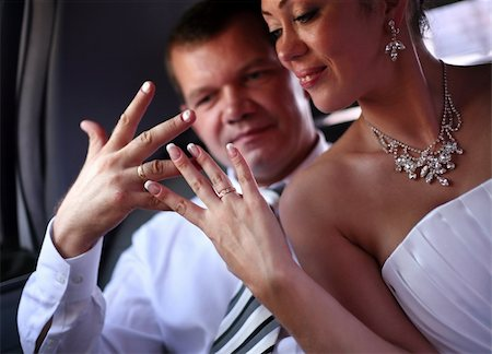Recently married pair in the car Stock Photo - Budget Royalty-Free & Subscription, Code: 400-04459849