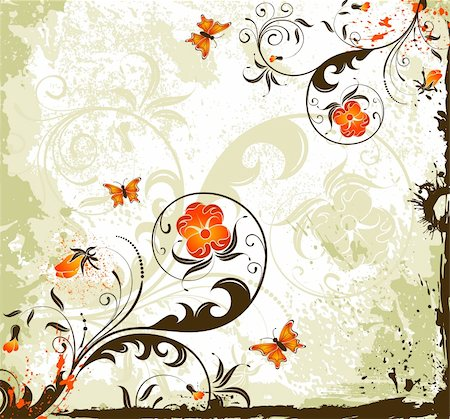 simsearch:400-03995944,k - Grunge paint flower background with butterfly, element for design, vector illustration Stock Photo - Budget Royalty-Free & Subscription, Code: 400-04459878